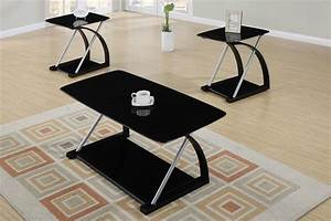 black veneer and silver metal 3 piece coffee table set With 3 piece coffee table set black