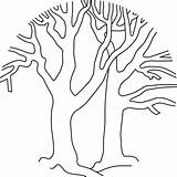 Tree Trees Bare Coloring Pages Winter Template Printable Fall Outline Clipart Coloringpages Cliparts Pumpkin Limb Silhouette Pattern Simple Version Cartoon sketch template