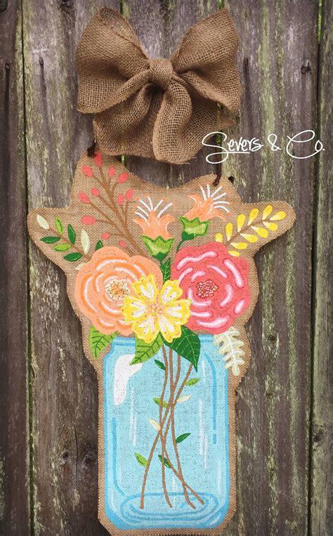 custom spring bouquet mason jar burlap door hanger  blue