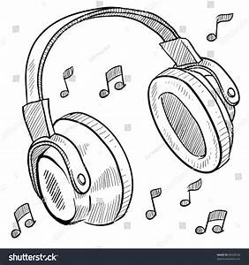 Doodle Style Headphones Vector Illustration With Musical ...