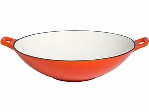 Wok Gusseisen Kaufen : wok aus gusseisen 30 cm orange wei emailliert b ware ebay ~ Markanthonyermac.com Haus und Dekorationen