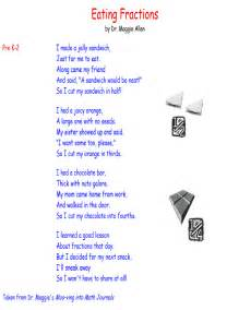 learning fractions worksheets fractions poem math poems and fractions