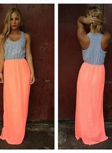 Neon Coral Maxi Dress with Grey Top and from UsTrendy