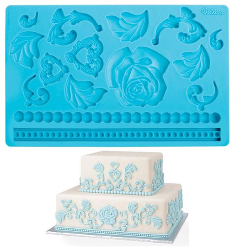 pered chef easy accent decorator uk wilton fondant gum paste mold imprinted texture cake