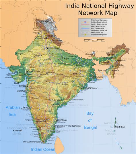 topographical map  india