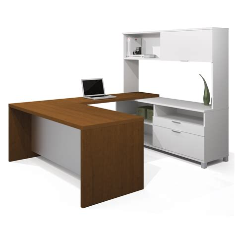 bestar u shaped desk bestar pro linea u shaped desk with hutch