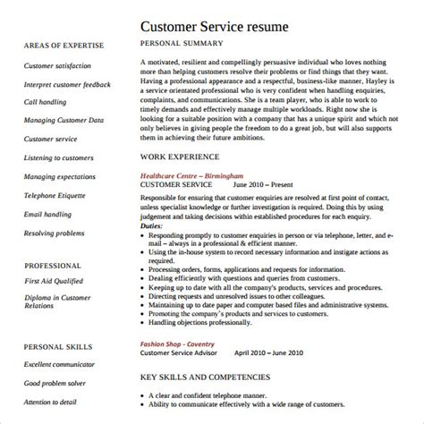 How To Word A Resume For Customer Service by Sle Customer Service Resume 10 Free Documents In Pdf Word