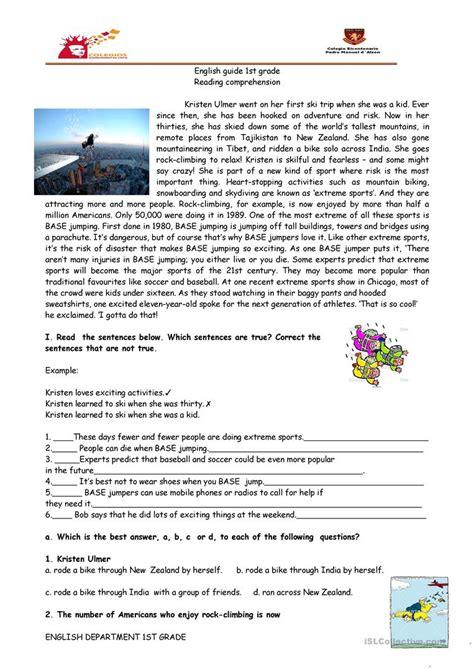reading comprehension worksheets sports reading comprehension sports base jumping worksheet