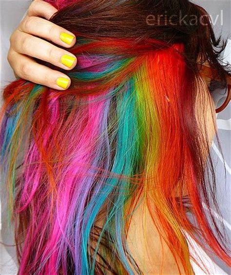 Under Rainbow Hair Multi Colored Hair Pinterest My