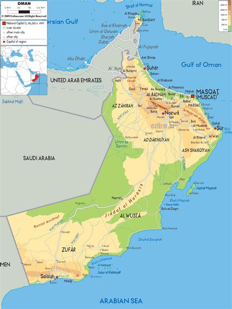 physical map  oman ezilon maps