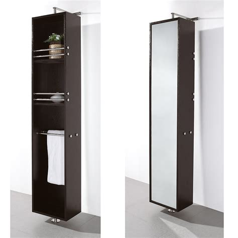 Black Bathroom Mirror Cabinet by Rotating Floor Cabinet With Mirror By Wyndham