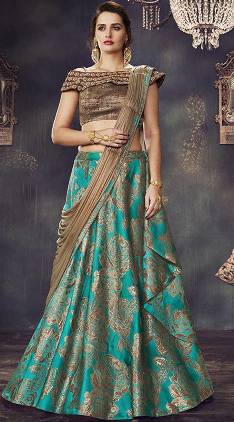 wedding  party wear turquoise designer lehenga saree