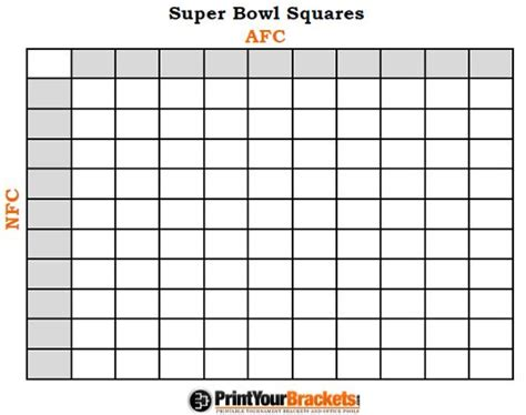 Bowl Box Template by Printable Bowl Squares 100 Grid Office Pool Nfl My
