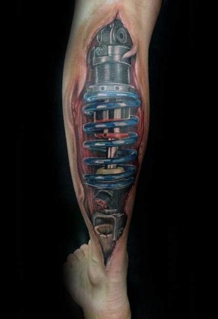 suspension tattoo designs  men shock absorber ideas