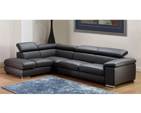 modern leather sectional sofa set  dark grey finish ls