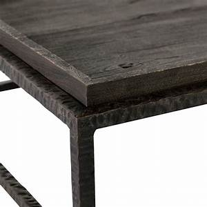 bonner industrial loft dark grey wood square iron bunching With square gray wood coffee table