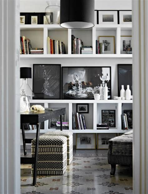 White And Black Bookcase by Friday Finds Black And White Interior Design