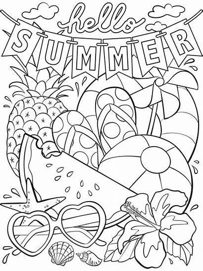 Coloring Summer Pages Hello Printable Them