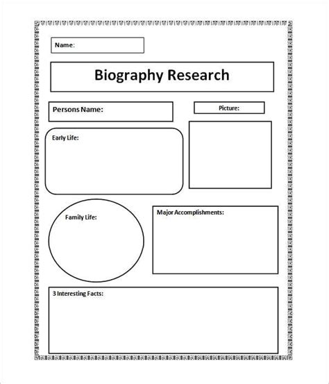 biography templates word excel  formats