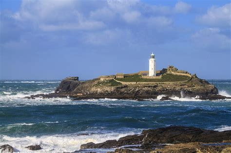 shower curtains godrevy lighthouse cornwall uk photograph by chris smith