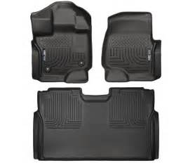 husky liners 2015 2017 ford f 150 supercrew cab floor mats black weatherbeater ebay