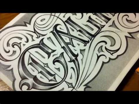 california custom chicano fancy script tattoo style