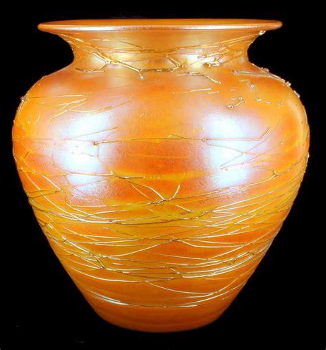 Orange Vase by Antique Durand Orange Iridescent Threaded Glass Vase