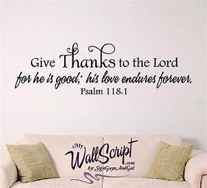 Give thanks wall decal home bible verse