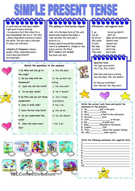 present simple tense worksheet kindergarten level