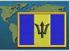 Barbados Rectangle Flag Embroidery design with a Gold Border