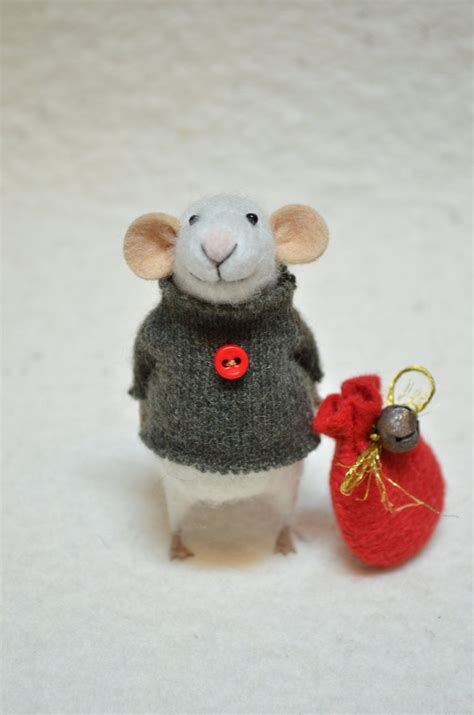 mice christmas ornaments mouse unique needle felted ornament animal felting dreams made to order 68 00