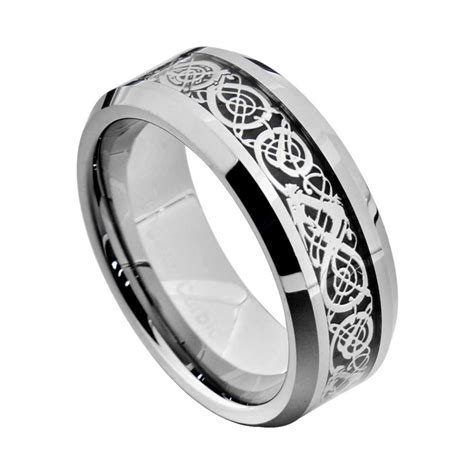 tungsten carbide silver gold dragon celtic scroll inlay