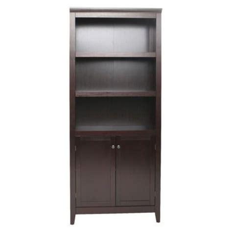 espresso bookcase with doors carson 5 shelf bookcase with doors espresso threshold