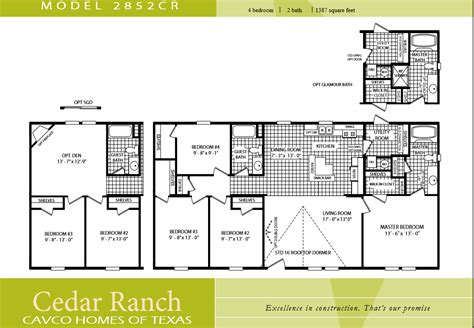 Cavco Homes Floor Plans Luxury 3 Bedroom 2 Bath Floor