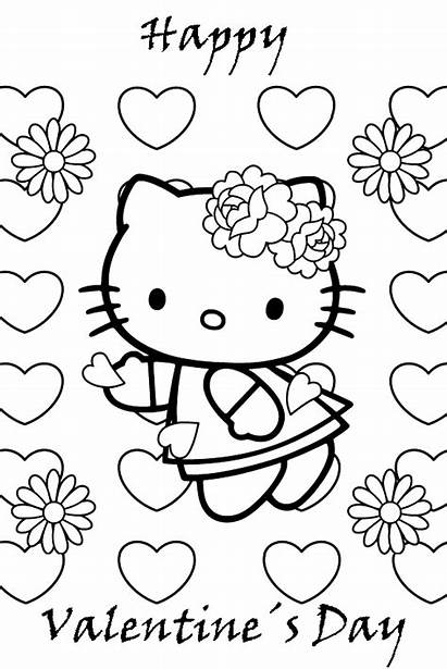 Valentines Printable Cards Card Kitty Hello Coloring