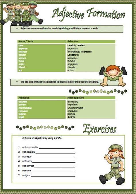 adjective formation worksheet