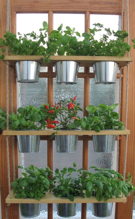 Window Spice Garden hanging herb planter with pots kitchen herb garden