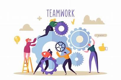 Teamwork Development Flat Engineering Concept Gears Mechanism