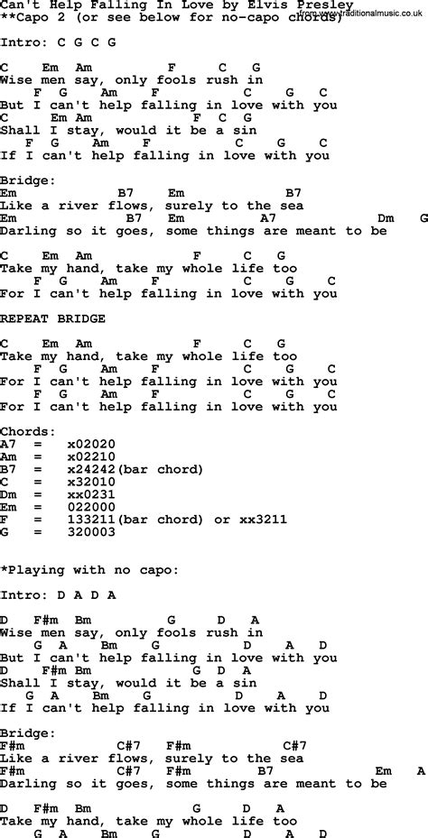 Awesome Cant Help Falling In Love With You Chords Illustration ...