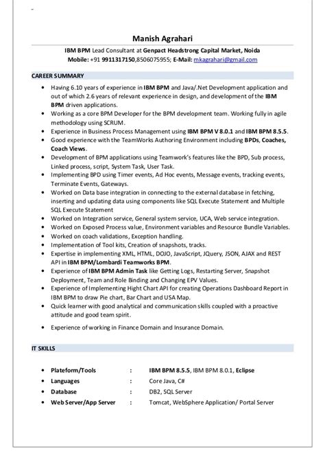 Ibm Resume Tips by Resume Manish Agrahari Ibm Bpm
