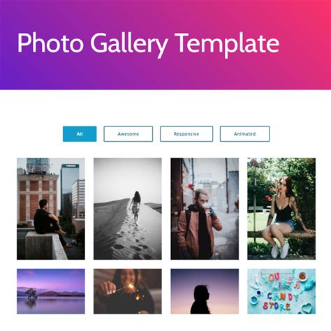 Free Template For by Free Html Bootstrap 4 Gallery Template