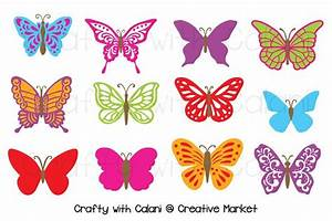 Butterfly Clipart in Candy Color ~ Illustrations ...