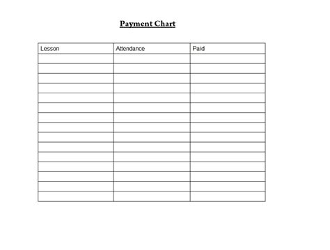 student payment chart word template template sample