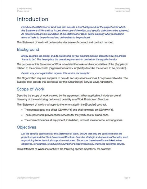 Statement Of Works Template by Statement Of Work Template Apple Iwork Pages