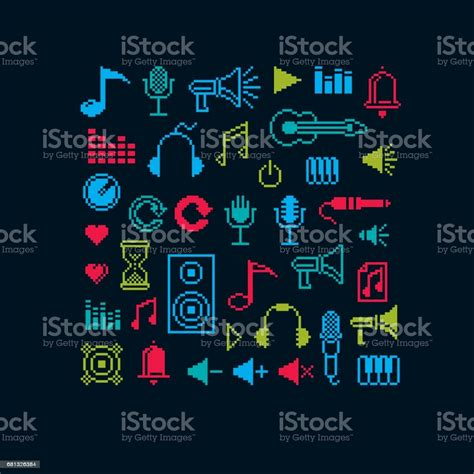 Without following articulation markings, your playing could end up sounding. Set Of Vector Musical Notes Retro Signs Made In Pixel Art ...