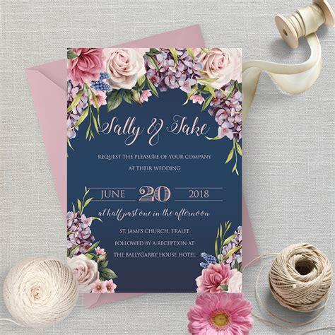 navy floral wedding invitation the invite hub