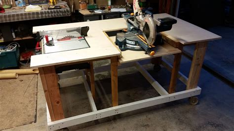 mobile workbench  built  table miter saws  steps