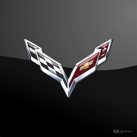 logo chevrolet 3d chevrolet corvette 3d badge on black digital art by