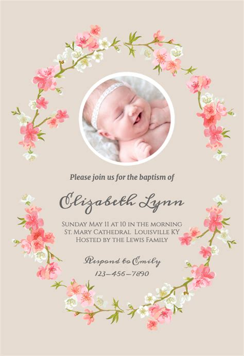 Floral Baby Baptism & Christening Invitation Template