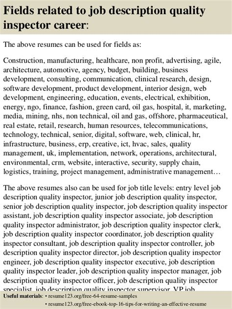 Quality Inspector Description For Resume by Top 8 Description Quality Inspector Resume Sles